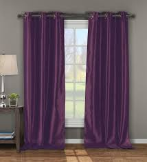 pair of andreas plum faux silk window curtain panels w grommets