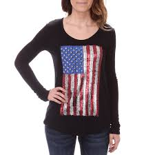 Flag Shirts Womens Rock U0026 Roll Cowgirl Womens Sequined American Flag Tops Black