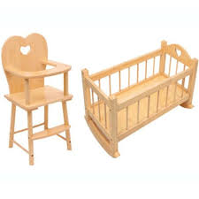 Baby Doll High Chair Set Dolls Wooden Rocking Cradle Cot Bed Feeding High Chair Toy Kids