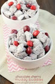 chocolate cherry muddy buddies shugary sweets