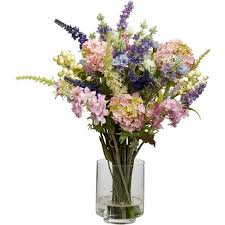 silk flowers lavender and hydrangea silk flower arrangement walmart