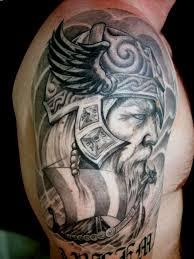 shoulder tattooo viking warrior head grey ink tattoo on shoulder jpg 1944 2592