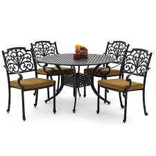 Round Table Patio Dining Sets by Evangeline 5 Piece Cast Aluminum Patio Dining Set With Round Table