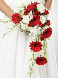 gerbera bouquet crimson gerbera orchid shower bridal bouquet from flowers ie