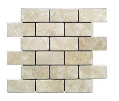 durango cream 2 x 4 tumbled travertine brick mosaic tile 6 x 6