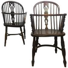 amazing 19thc set of four firehouse windsor captains chairs for