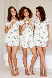 bridesmaid pajama sets shortie sets in sweet and yonderflies and beckoning creatures