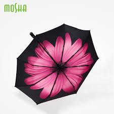 rubber handle three folding umbrella parasol for flower
