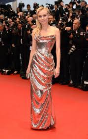 Diane Kriger, Cannes 2012, metallics gold dress, vivienne westwood, gold label