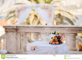 fruit dessert plate at wedding cocktail party stock photo image