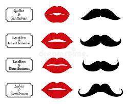 Bathroom Symbols Ladies And Gentlemen Bathroom Symbols Vector Lips Moustache Icons