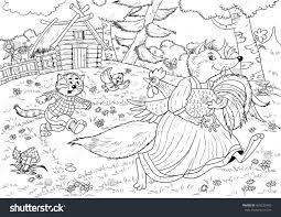 fox russian fairy tale illustration stock illustration