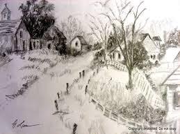 artscanyon gallery pencil sketching landscape uphill village