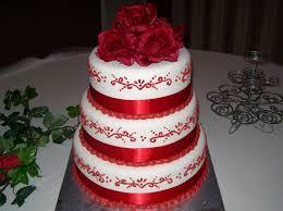 sab cakes red on white wedding cake