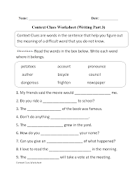 context clue worksheets 3rd grade worksheets