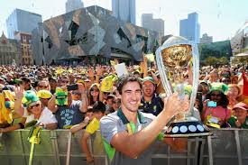 cricket world cup thousands of fans turn out to federation square