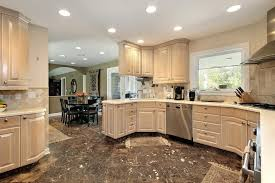 Spacious Dark Floors Light Cabinets  Dark Floors Light Cabinets - Pictures of kitchens with oak cabinets