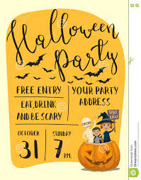 halloween party poster design with kids stock vector image 78718966