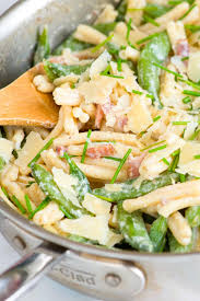 Creamy Pasta Salad Recipes by Creamy Pasta With Yogurt Bacon And Snap Peas