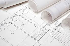 architect plan architectural project architect rolls and plans stock photo
