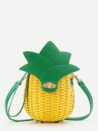 pineapple shaped straw crossbody bag shein sheinside