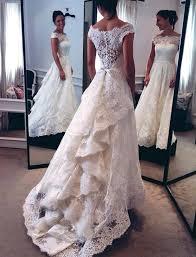 amazing short sleeve lace wedding dresses 2017 zipper button