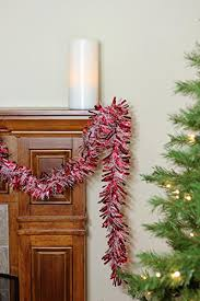 50 festive and white thick cut tinsel garland unlit