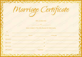 marriage certificate template golden flames design