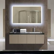 Unique Mirrors For Bathrooms Modern Led Backlited Unique Mirror With Beige Floating Vanity For