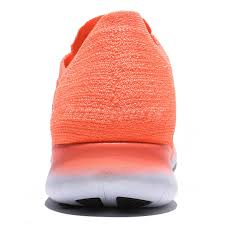 wmns nike free rn flyknit run bright orange white women running
