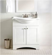 Small White Bathroom Vanities by Round Mirror Attached To The Wall Of A Nice Blue Color With A
