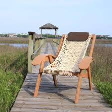 Knotted Hammock Chair The Pawleys Island Hammock Sling Deck Chair Hammacher Schlemmer