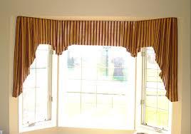 Drapery Designs For Bay Windows Ideas Brown Fabric Valances As Modern Drapes Ideas