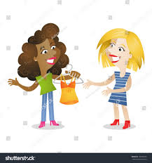 vector illustration cartoon characters two girlfriends stock