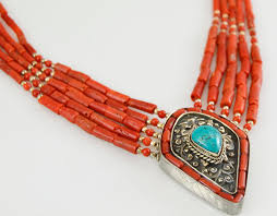 silver turquoise pendant necklace images Coral choker turquoise pendant sterling silver necklace kashmir jpg