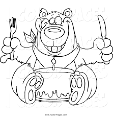 vector coloring page of a back and white birthday bear eating cake