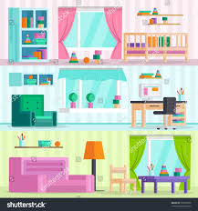 big set detailed interior childrens playroom stock vector