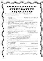 superlative and comparative adjectives worksheets free worksheets