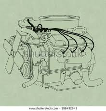 generic car engine diagram on green stock vector 396432643