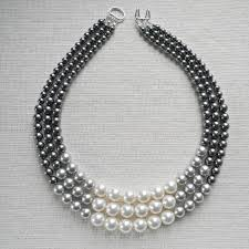 colored pearl necklace images Color block triple decker necklace in gray 3 strand colored jpg