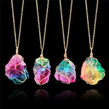 natural stone necklace pendant images Women 39 s necklaces with big pendant rainbow natural stone simple jpg