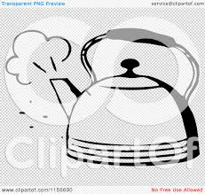 clipart of a black and white retro steaming tea pot royalty free