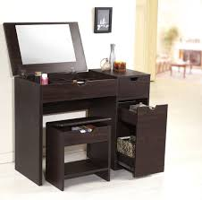 vanity table with lighted mirror and bench small modern brown laminate makeup vanity table with drawer and