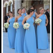 blue bridesmaid dresses spotted on blue one shoulder bridesmaids dresses