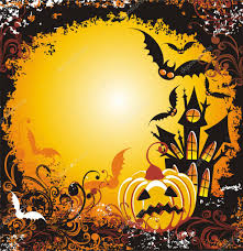 halloween background with haunted house pumpkin and bats u2014 stock