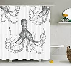 Octopus Bathroom Accessories by Amazon Com Kraken Decor Shower Curtain By Ambesonne Sea