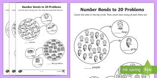 bonds to 20 problems worksheet numbers bond worksheet
