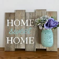 home sweet home mason jar sign mint white purple rustic home