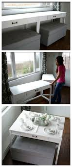 desk dining table convertible diy convertible desk space saving idea tiny houses desk space