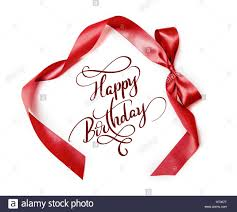 happy birthday ribbon brown ribbon with a bow on white background and text happy birthday